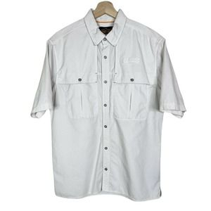 Orvis Trout Bum Medium Mens Button Front Short Sleeve Vented Fishing Shirt